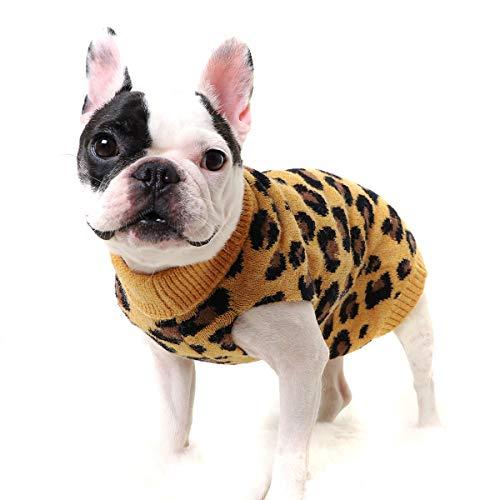 puseky Hundepullover für den Winter, Strickwaren, Leopardenmuster, warm, gestrickt, gehäkelt, für kleine und mittelgroße Hunde