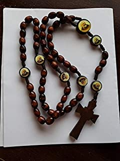 Padre Pio Wooden Rosary Beads