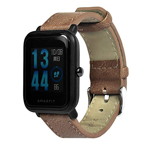 Saisiyiky - Cinturino in Vera Pelle per Xiaomi Huami Amazfit Bip Youth Watch