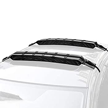 WOOWAVE Kayak Roof Rack Pads Universal Car Roof Rack Soft Premium Surf Crossbars Cross Bars for Surfboard SUP Paddleboard with 2 Waterproof Tie Down Straps and Portable Storage Bag 33in Long  Pair