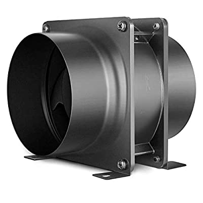 iPower 4 Inch Exhaust Inline Axial Fan Ducting Ventilation Extractor Aluminum Alloy for Grow Tent Greenhouse Kitchen Bathroom HVAC, Black