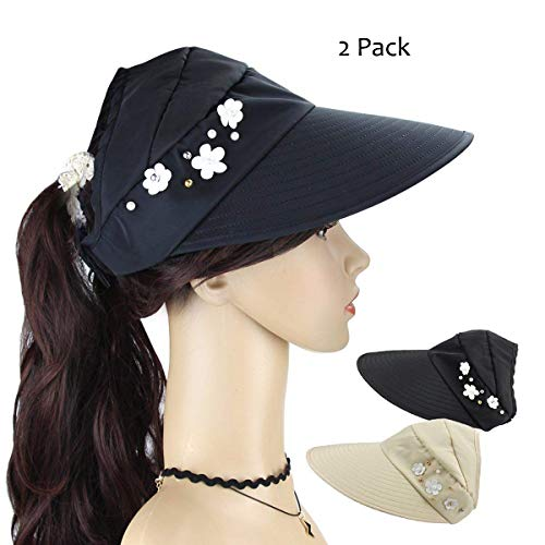Women's Roll Up Topless Wide Brim Visor Cap 2 Packs Summer Sun Hat Adjustable Foldable Cotton UV Protection Hat