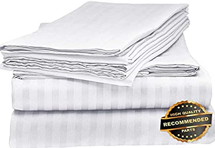 Sandover 6 Piece Dobby Stripe 2100 Thread Count Egyptian Quality 14 Pocket Bed Sheet Set| Size Queen | Style DUV-5301218201