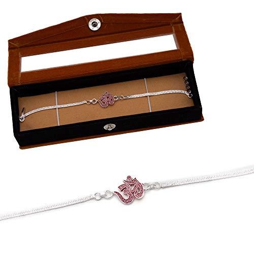 NINE10 Silver Bracelet Rakhi With Velvet Gift Box
