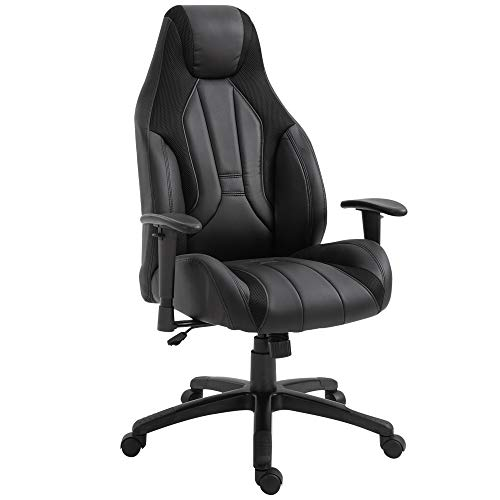 Vinsetto High Back Executive Office Chair Mesh & Fuax Leather Gaming Gamer Chair with Swivel Wheels, Adjustable Height and Armrest, Black