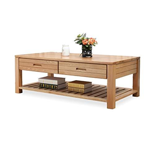 Z-GJM puur massief houten salontafel eiken salontafel log met vier laden eenvoudige moderne woonkamermeubels het slanke ronde ontwerp helpt om de perfecte combinatie overal te bereiken. A