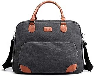 Men's Canvas Bag Business Shoulder Cloth Bag Fashion Travel Bag Casual Messenger Men's Portable Bag (Color : Black)