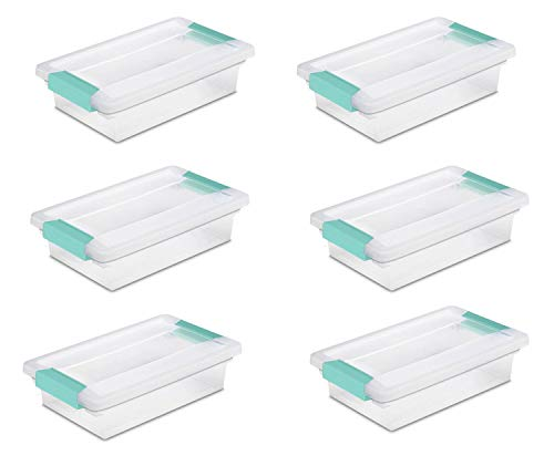 Sterilite 19618606 Small Clip Box, Clear Lid & Base w/Colored Latches, 6-Pack