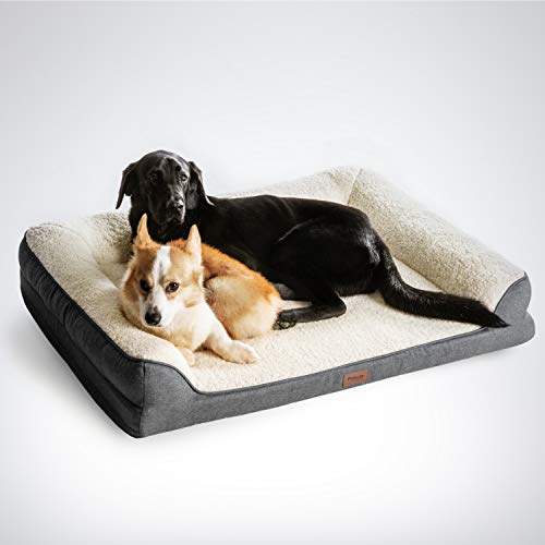 Petsure Orthopedic Dog Beds for Small, Medium, Large Dogs & Cats - 42x32x7 inches Extra Large Dog Beds, Grey - Memory Foam Couch Dog Bed with Removable Washable Cover - Bolster Dog Beds