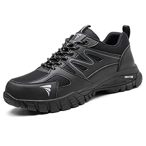 SROTER Zapatos de Seguridad para Hombre Mujer Puntas de Acero Antideslizantes Transpirables Anti-Piercing Zapatos de Trabajo Negro EU42