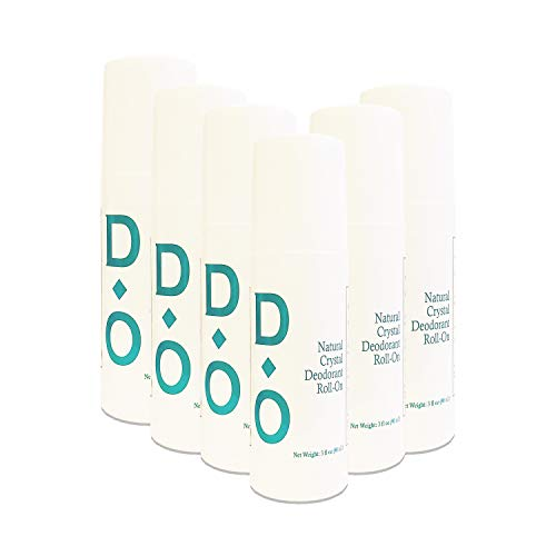 D-O 100% Natural, Crystal Liquid Deodorant Roll-on, 3 Floz, No Aluminum Chlorohydrate, Parabens, Propyls, or Other Chemicals (6 Pack)