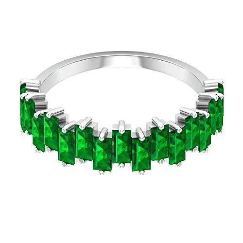 1,83 ct Baguette-Form-Labor erstellt Smaragd-Goldring, SGL-zertifizierter Edelstein-Ehering, Statement Partywear Arbeitskleidung Frauen Ring, 14K Roségold, Size:EU 61