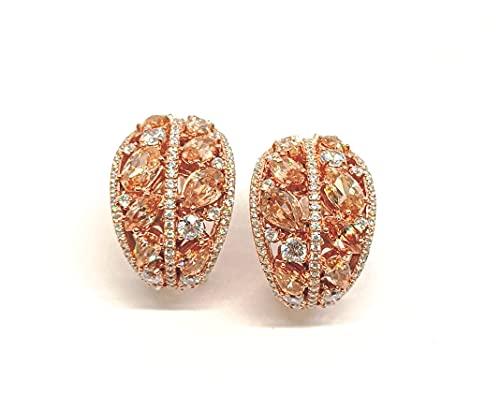 Pendientes de plata 925 chapados en oro rosa Omga abombados circonitas de colores (COO0049)