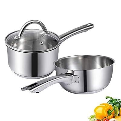 Maggopan Stainless Steel Saucepan Glass Lid Kitchen Cookware 3 PCS SET (1.5 QT + 2 QT)