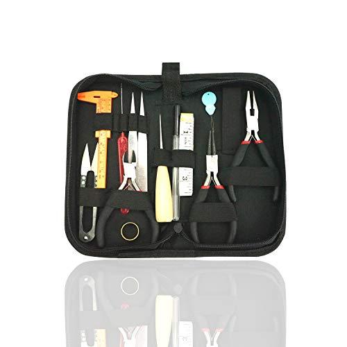 Werkzeugset für die Schmuckherstellung, 14-teilig Schmuckreparaturwerkzeuge Koffer mit Zange, Cutter, Schere, Lineal für Ohrringe, Beading and Necklace DIY, Basteln, Fixieren, Reinigen