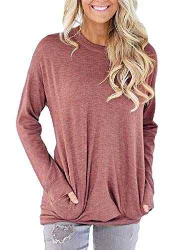 Unidear Women Casual Long Sleeve Round Neck Loose Blouses Tops with Pocket Light Wine Red Small
