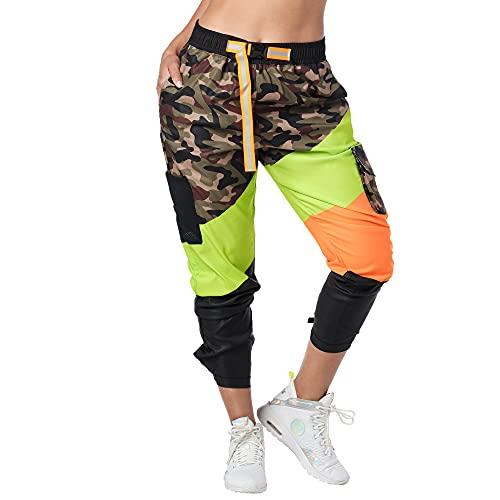 Zumba Fitness Pantalones Mujer Deportivos Transpirables de Entrenamiento de Baile, Multi Camo, XL
