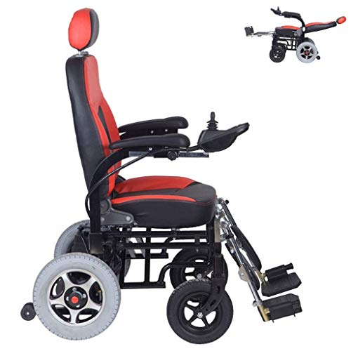 Home Accessories Elderly Disabled Electric Wheelchair Folding Wheelchair Reclining Tilting Chair Automatic Scooter Multifunctional Power Wheelchair for Elderly Adult Disabled 12A Lithium Battery Re