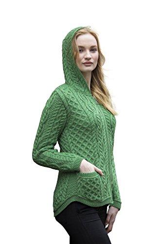West End Damen Hoodie mit Reißverschluss aus irischer Merinowolle (Grün, L)