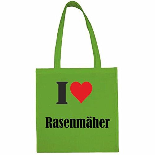 Tasche I Love Rasenmäher Größe 38x42 Farbe Grün Druck Schwarz