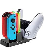 YOSH Joy-con Proコン DualSense 対応 安全充電スタンド 4台同時安全充電可能 収納 充電保護システム ジョイコン保護 Switch保護 滑り止め 取り付け簡単 充電ケーブル付き YOSH 充電ホルダー チャージャー ジョイコン スイッチ コントローラー 充電器 ブラック Nintendo Switch Xbox Elite ワイヤレス コントローラー シリーズ 2 DualSense も対応