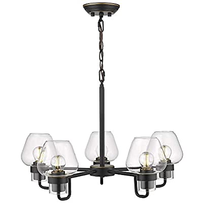 Beionxii 5-Light Chandelier, 21-Inch Industrial Vintage Pendant Lighting Fixture for Kitchen Island Dinning Room Black Finish with Clear Glass - BXB001 Series