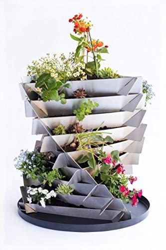URBANGA Hochbeet Ackerwinde aus Metall für Garten, Balkon, Terrasse / Bausatz aus Cortenstahl, Baustahl & Edelstahl (Edelstahl, Mini)