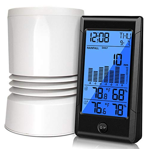 Geevon Wireless Rain Gauge,3 in 1 Self-Emptying Collector Monitoring Rainfall and Indoor/Outdoor Temperature & Humidity with Backlit Display