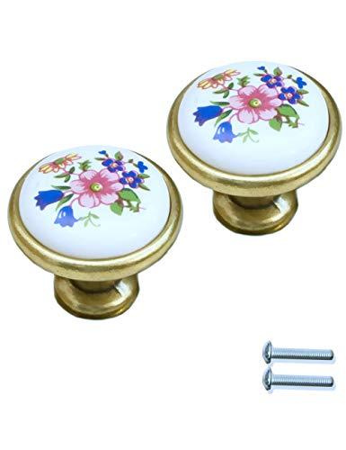 FUXXER - 2x handgrepen antiek keramiek met bloemenpatroon wit | brons messing vintage design Knoop 30 mm 30 x 30 wit