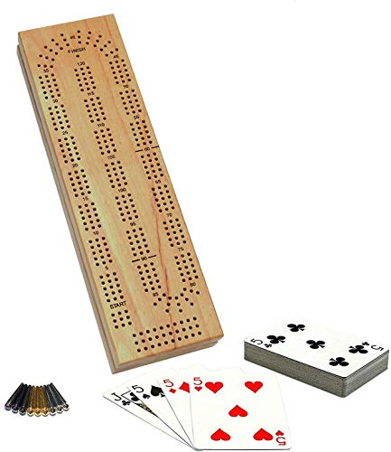 WE Games Cabinet Cribbage Set - Solid Wood Continuous 3 Track Board...