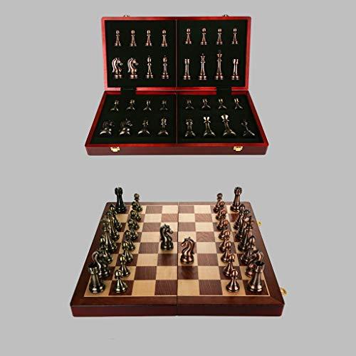 De Haute qualité en Bois Massif Jeu d'échecs, de Style rétro Pièces Bronze Métal, Conseil spécial Pliant Echecs for Les Adultes et Cadeaux for Enfants et Jeux de société ( Color : B , Size : L )