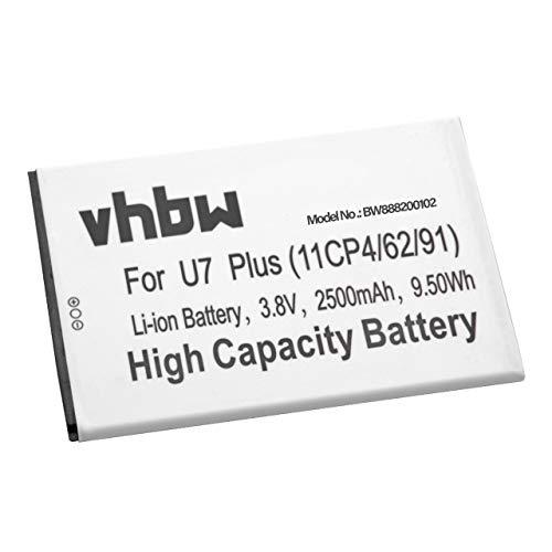 vhbw Akku passend für Oukitel U7 Plus Handy Smartphone Handy (2500mAh, 3.8V, Li-Ion)