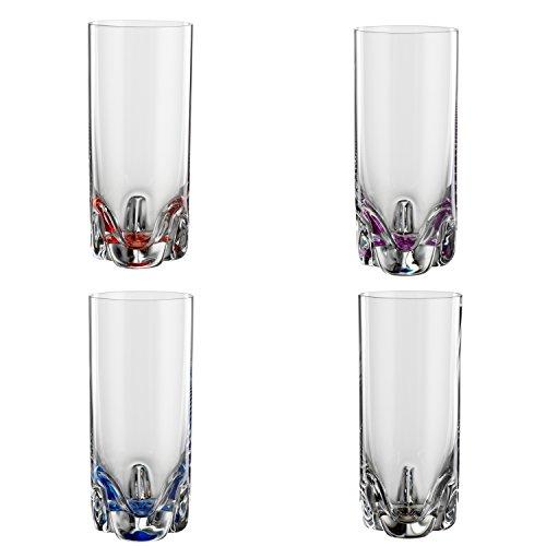 Bohemia Cristal 093 006 150 4er-Set Longdrinkbecher Bahama ca. 300 ml aus Kristallglas mit Farbig dekorieren Boden in Lila, Rot, Blau, Grau Vaso, 8.9 x 8.0 x 8.9 cm, 4