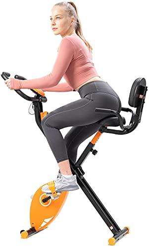 Bicicleta estática plegable con respaldo. 8 niveles de resistencia. Monitor con Pantalla LCD. Sensor de frecuencia cardíaca