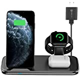 Intoval Wireless Charging Station, for Apple Watch/iPhone/Airpods, iWatch 6/SE/5/4/3/2, iPhone 12/12 Pro/12 mini/11/11 Pro/11 Pro Max/XS/XS Max/XR/XS/X, Airpods Pro/2/1 (V5,Black)