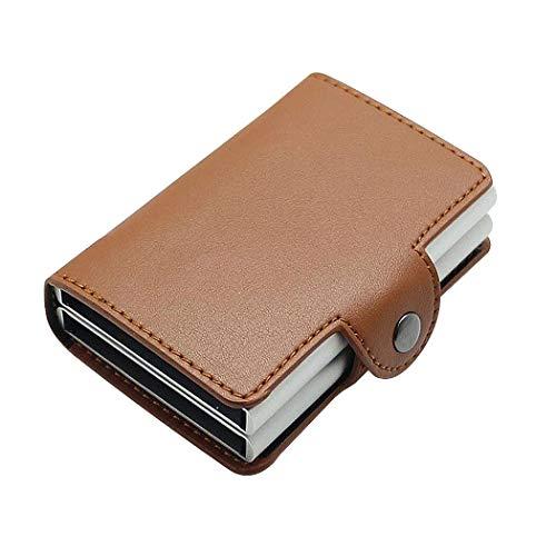 Billetera Hombre,Billetera,billeteras,Caja de Aluminio Doble automática de la Caja de la identificación por radiofrecuencia, Paquete de la Tarjeta de Cuero (Marrón Premium)