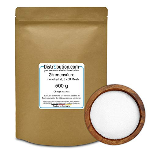DistrEbution.com 500 g Zitronensäure monohydrat in Gries/Pulver, 8-80 Mesh, Entkalker