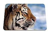 22cmx18cm マウスパッド (タイガーフェイスプロフィール縞模様の大きな猫) パターンカスタムの マウスパッド