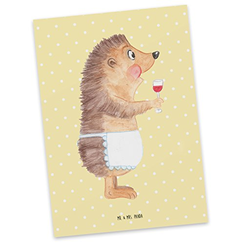 Mr. & Mrs. Panda Einladung, Karte, Postkarte Igel mit Wein - Farbe Gelb Pastell