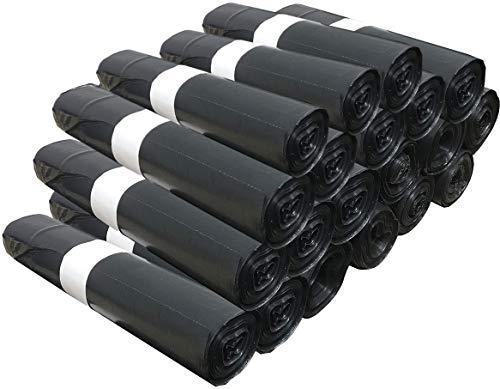 500 Sacs Poubelle Grande Capacité 50L - Lien de Fermeture, Ultra Résistant, Anti-Fuites, Noir Opaque - 20 Rouleaux