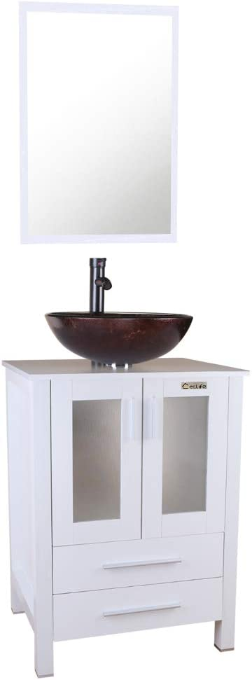 Buy U Eway 24 White Bathroom Vanity Tempered Glasses Vessel Sink Combo Brown Vessel Sinks W 1 5 Gpm Faucet Orb Finished White Bathroom Vanity Top W Glasses Sink Bowl 24 Cabinet With Sink Combo Online