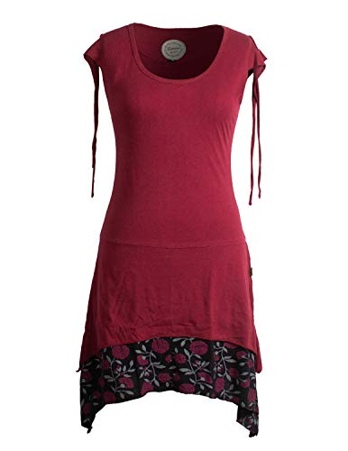 Vishes - Alternative Bekleidung - Ärmelloses Lagen-Look Elfen Zipfelkleid aus Baumwolle dunkelrot 40-42