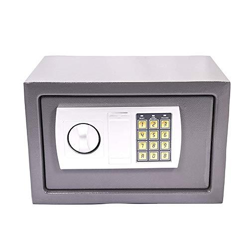 Elektronischer Safe Tresor, Elektronische Sicher Tresor mit Zahlenschloss, Feuerfest Safe, Möbeltresor mit Doppelbolzenverriegelung, Klein Geldsafe Schranktresor, 31x20x20cm, Grau