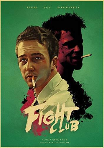 Yyoutop Altmodische hochwertige Leinwandbilder des Filmklassikers Fight Club/Pulp Fiction/Glow/Poster Kinderzimmer 50 x 70 cm ohne Rahmen
