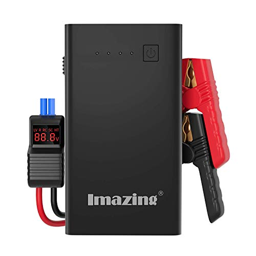 Imazing Car Jump Starter 1000A Peak with Type-C Port(Up to 7.0L Gas or 5.5L Diesel Engine), 12V Portable Power Pack Auto Battery Booster with LCD Display Jumper Cables, QC 3.0 and LED Light