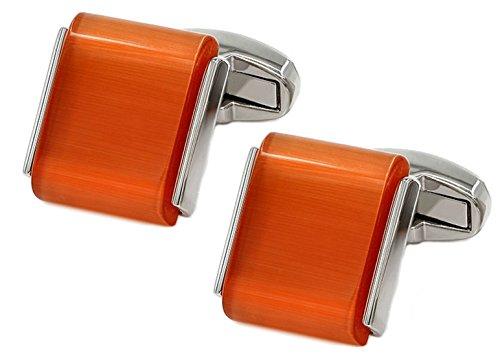 Cufflinks Direct Orange undurchsichtiger Kristall Cabochon Edelstein Stein Mens Hochzeitsgeschenk Manschettenknöpfe (Manschettenknöpfe mit Geschenktüte)
