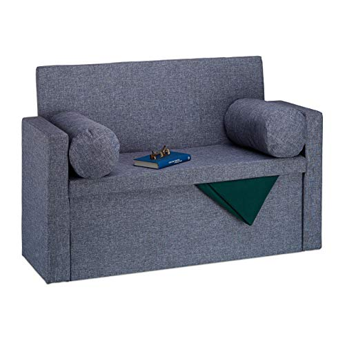 Relaxdays Baúl Almacenamiento Plegable con Respaldo, Lino, Gris, 75 x 115 x 47 cm