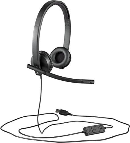 Logitech H570e Auriculares con Cable, Auriculares Estéreo con Micrófono con Supresión de Ruido, USB, Controles Integrados con Botón de Silencio, Indicador Led, PC/Mac/Portátil, Negro