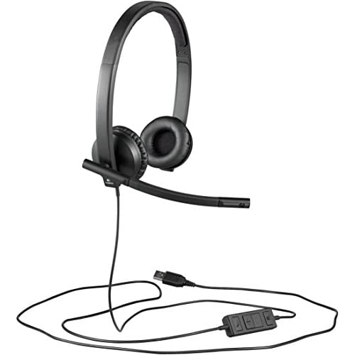 Logitech H570e Cuffie Cablate, Mono con Microfono Cancellazione di Rumore, USB, Controlli in Linea con Pulsante Disattiva Audio, Indicatore LED, Compatibili con PC/Mac/Laptop, Nero