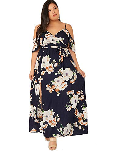 Milumia Women Plus Size Cold Shoulder Floral Print Boho Maxi Dress Blue X-Large Plus